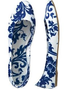 AND my price!  Blue and White Satin Flats, Old Navy $11.70