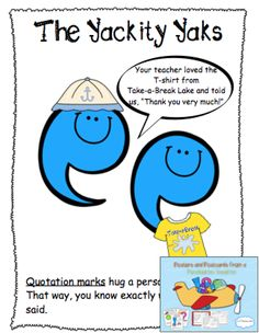 """Sample page from Posters and Postcards from a Punctuation Vacation! This product was made to accompany the book """"Punctuation Takes a Vacation"""" by Robin Pulver. You will want to revisit this fun text many times as you use the posters, postcards, and activity sheets to introduce and assess each punctuation mark. This product would also make a great bulletin board display! $"""