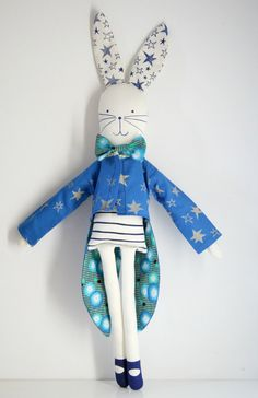 Stuffed Circus Rabbit Doll on #etsy, $60 from Miko Design