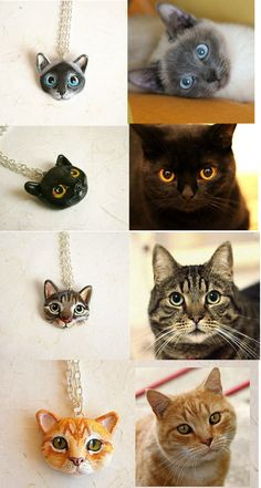 Custom Cat Necklace or Brooch, Portrait of your pet. $48.00, via Etsy.
