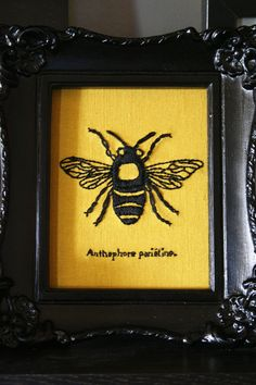 embroidery insect, embroidered bees, bug wall, bee print, bumble bees, bee wall