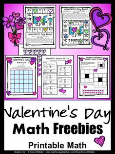 Valentine's Day Math FREEBIES - Give the kids some math that they will LOVE! Here is just the thing to get the kids to LOVE math! math freebi, second grade