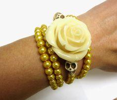 Day of the Dead Bracelet Sugar Skull Wedding Cuff Gold & Ivory sugar skull