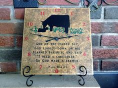 So God made a Farmer Clock with Cow/Calf on Etsy, $35.00
