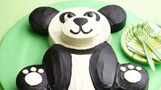 Party time! Create a sweet panda to celebrate a birthday or special occasion. Print out this template and use it as a guide to cutting and assembling your panda. birthday parti, panda cake, bears, kid birthdays, panda bear, pandas, cake recipes, bear cake, birthday cakes