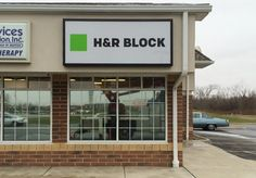 H&R Block Wall Sign. Third party install for South Water Signs.