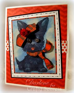 Tutorial by Darlene Pavlick using Microsoft Word to crop, print and make this cute 3D Scottie Dog card from Crafty Secrets 5 Printable Puppy Cards Set. Also includes links to DT Challenge and Linky Party.