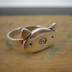 Sterling Silver Pig Ring by marmar on Etsy, $48.00