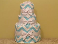 Baby Blue Chevron Diaper Cake  Medium  Ship Ready by CaringCakes, $52.00
