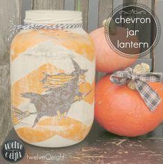 chevron jar, blog hop, witchi chevron, jar lantern, halloween blog, furniture crafts, halloween decorating ideas, jars, link parti