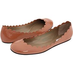 scalloped patent leather flats
