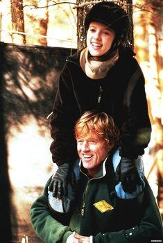 """Robert Redford and Scarlett Johannsen on the set of """"The Horse Whisperer"""""""