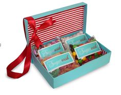 Sugar Wish Candy gift boxes - so clever for a last minute gift! The recipient gets to fill it with 4 favorites of 100 awesome candies.