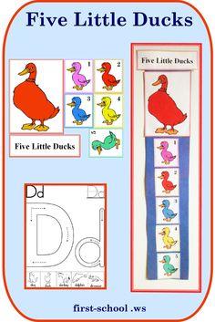 Five Little Ducks preschool printable activities and lesson plan.