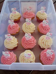 Marvelously sweet Hello Kitty cupcakes. #cute #kawaii #pink #cupcakes #food #baking #dessert #Hello #Kitty #birthday #cake