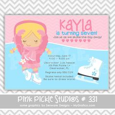 Ice Skating Girl 2 Personalized Party Invitation-personalized invitation, photo card, photo invitation, digital, party invitation, birthday, shower, announcement, printable, print, diy,monkey, animal
