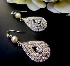 Ivory Swarovski Pearls with Teardrop Rhinestone Earrings