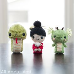 Ami shows you how to crochet her litter snake amigurumi using Cotton-Ease (pictured on left); 2013 is year of the snake.