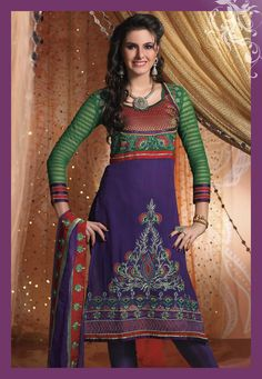 Purple Full Sleeve Faux Georgette Knee Length Churidar Suit 19286