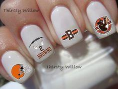 Johnny Manziel Cleveland Browns Nail Decals by ThirstyWillow, $2.75 hair nail, cleveland browns nails, brown nail, nail art, footbal nail, nail decal