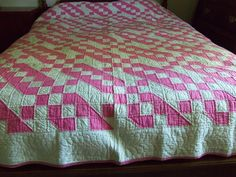 1930s Jacob's Ladder Rose Pink and White Quilt