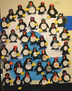 Penguin glyphs classroom display photo from Donna.
