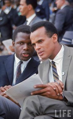 Sidney Poitier and Harry Belafonte at the March on Washington, August 28, 1963.