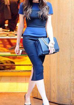 Round Neck Blue Panel Dress