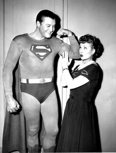 George Reeves and Lucille Ball.