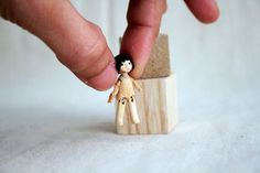 Super tiny wooden jointed art doll by monkeygstudio