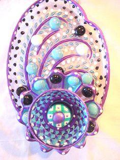 Hanging Suncatcher Garden Glass Plate Flower Recycled Yard Art Purple Turquoise Art Glass