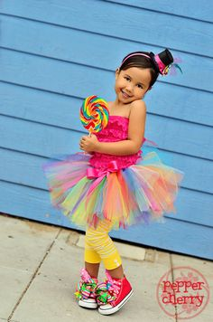 Circus Clown Rainbow Tutu 12mos5t Candyland by MyaPapayaBoutique,