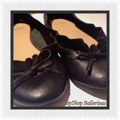 TOPSHOP Black Leather Ballet Style Flats  Size 4.5 (37.5)