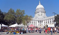 Dane County Farmers Market around the capital building, Madison, WI.
