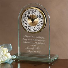 This is a great Anniversary or Wedding Gift idea ... The Everlasting Love© Engraved Wedding Clock from PMall - you can personalize it with the couple's names and wedding date with or without the beautiful verse - it's only $49.95 - which includes FREE personalization! Since one of the traditional 1-year anniversary gifts are clocks this is perfect! #Wedding #Anniversary #Clock