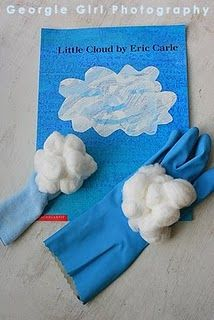 calendar time, hand puppets, book, cloud, spring party, party fun, lollipops, april showers, eric carle