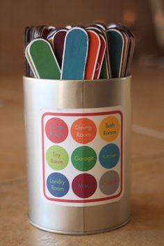 Chore jar for the chore sticks.