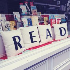 READ scrabble pillows + books