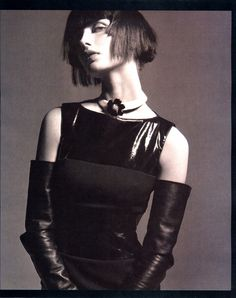 Swish patent leather dress and long #leather gloves