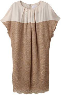 Two tone lace dress / ShopStyle: アルファエー レース切り替えワンピース
