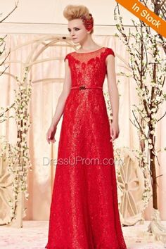 Red Lace Scoop Long Gown - Dress U Prom