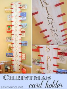 DIY: Easy-to-create Christmas Card Holder with 6' piece of wood and clothespins #LowesCreator