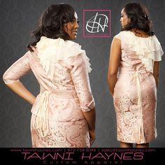 Tawni Haynes Custom Made Pink & Champagne Paisley Ruffle Collar Belted Pencil Dress & Jacket.  Tawni Haynes 972-754-5096  www.facebook.com/TawniHaynesCustomApparel