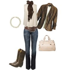 loose dressy shirt, and boot-cut jeans are tied in with the brown scarf, belt, and the distressed leather boots; and the casual loose-fit leather jacket lookes comfortable to wear. For a dressier look try pearls and a purse instead of the scarf and jacket.