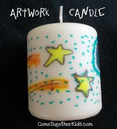 Artwork Candles... Draw on tissue paper wrap with wax paper then wrap around candle and heat until image is transferred.