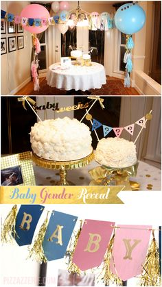Pink, Blue, + Gold Gender Reveal Party Inspiration- as a birthday rather than a gender reveal.