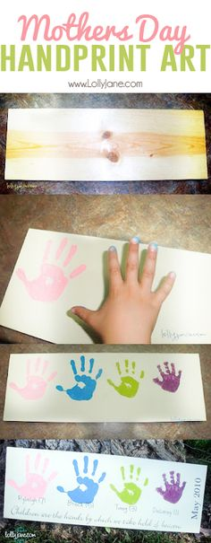 Mothers Day Handprint Art. Super cute! Great for Grandparents Day, too! via lollyjane.com #yearofcelebrations