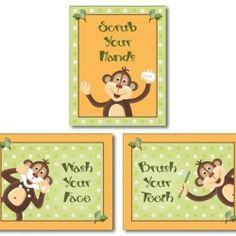 Orange Jungle Monkey Bathroom Prints (Set of three) $18.90 bathroom-upstairs-hall