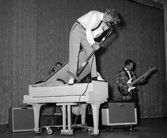 """Jerry Lee Lewis - 'The Killer. The bad boy. He put everything he had into his performances. He became known nationwide in 1957 with """"Whole Lotta Shakin' Goin' On"""" then had successive hits with """"Great Balls of Fire"""" and """"Breathless."""" ' S)"""