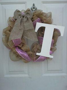 Burlap monogram wreath $30